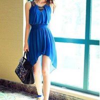 Sequin Neck High-Low Hem Chiffon Dress
