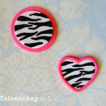 Zebra print cupcake toppers  /heart or circle /valentine/birthday/wedding