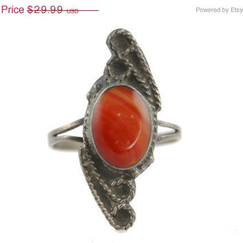 Sale Sterling Silver Red Art Glass Ring