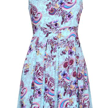 Paisley Box Pleated Dress