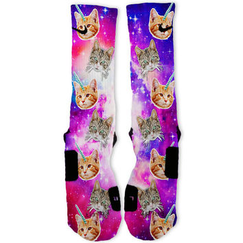 Crazy Space Cats Custom Nike Elite Socks