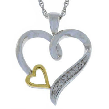 Diamond Heart Pendant 10Kt Yellow Gold & .925 Sterling Silver