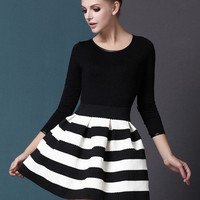 Black White Striped Three Quarter Length Sleeve Stripe Dress