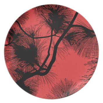 Desert flora stencil flowers at night pattern dark melamine plate