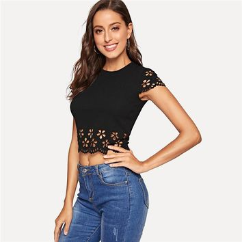 Black Laser Cut Scallop Crop Top Slim Fitted Sexy Blouse Women Round Neck Short Sleeve Solid Boho Blouses