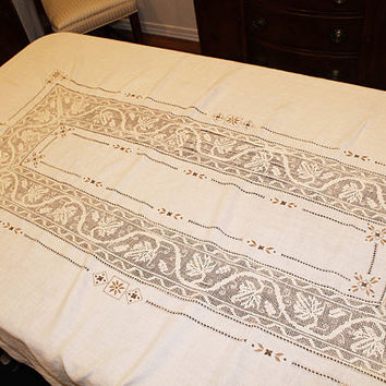 Vintage Ecru Linen and Drawnwork Embroidery Tablecloth, L107