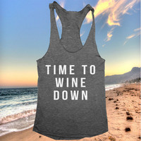 time to wine down tank top funny women ladies lady tops fitness yoga crossfit training workout gym summer