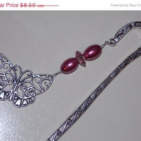 33%OFF SALE Wine Pearl Butterfly Bookmark