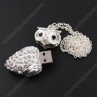 Leegoal 8GB/16GB Owl Crystal Jewelry USB Flash Memory Drive Necklace