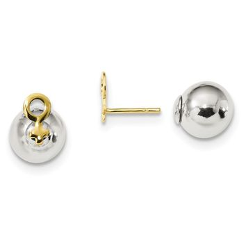 925 Sterling Silver Gold-tone Female Symbol Front Back Post Earrings