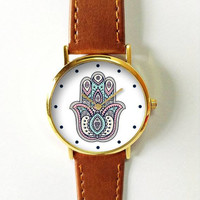 Hamsa Watch , Women Watches,  Leather Watch,  Boyfriend Watch, Ladies Watch, Lucky Charm  ,Pastel , Silver Watch, Gold Watch, Rose Gold