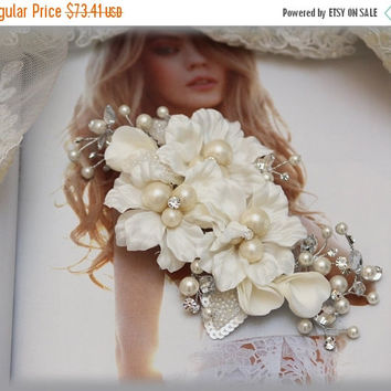 Bridal headpiece, pearl comb, crystal Rhinestone comb, Bridal Hair Comb, Bridal hair jewelry, Wedding hair accessory, engagement headpiece