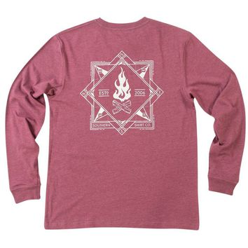 Elemental Compass Long Sleeve Tee Shirt in Oxen Red by The Southern Shirt Co. - FINAL SALE