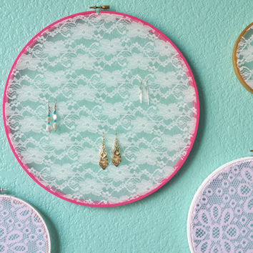 Large Pink Embroidery Hoop Earring Display, Cottage Chic Lace Earring Storage, Shabby Chic Jewelry Frame, Mother's Day, Elegant Lace
