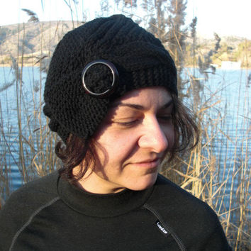 Hand Knit Hat Cloche Hat in Black with  buckle Womens cable knit Hat  Fall  Autumn Winter Accessories Fashion