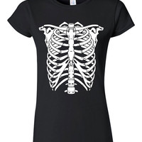 Skeleton Rib Cage T-shirt Tshirt Tee Shirt Halloween Costume Funny Scary Party Humor Cool Punk Body Anatomy Hipster LOL bones Gift Darko Fun