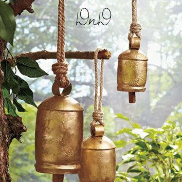 Set of 3 Harmony Bells Iron Wooden Clapper Rustic Brass Finish Tranquil Soothing