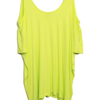 ROMWE | Navy Style Off-shoulder Fluorescence-yellow T-shirt, The Latest Street Fashion