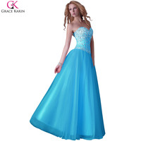 Blue Prom Dresses 2016 Grace Karin Tulle Corset Sparkly Sequin Bead White Ball Dress Elegant Gowns Long Puffy Prom Dresses Pink