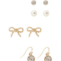 FOREVER 21 Bow & Faux Gem Earring Set Gold/Clear One