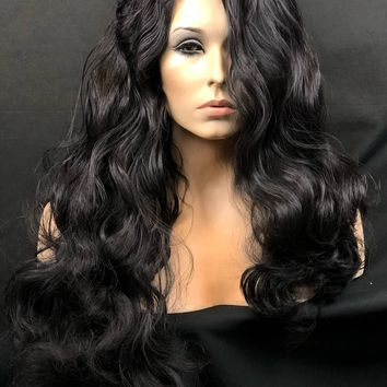 Lace Front Wig, Curly Black Wig, Big Sexy Curls, Long Wavy Wigs, Black Wavy Wig, Black Wig, Human Hair Blend