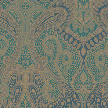 Morocco Paisley Wallpaper in Blues, Greens, and Metallic design by Seabrook Wallcoverings
