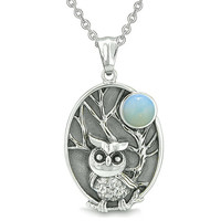 Amulet Owl and Wild Woods Magic Moon Charm Simulated Opalite Crystal Pendant 22 Inch Necklace
