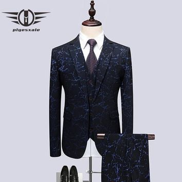 Wedding Tuxedo Suits For Men 3 Piece Slim Fit Men Printed Suit Prom Suit Stage Jacket Pants Vest
