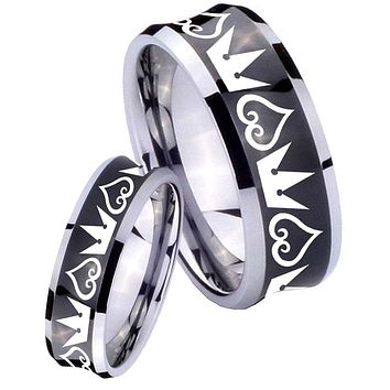 His Her Black Concave Hearts and Crowns Two Tone Tungsten Wedding Rings Set