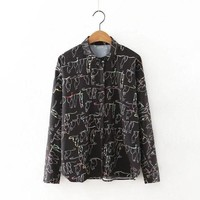 DCCK0OQ Korean Women's Fashion Long Sleeve Print Tops Shirt [8542258695]