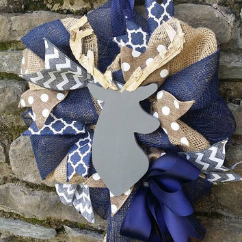 Deer Nursery Decor Deer Baby Shower Decor Burlap Gray Deer Wreath Navy Blue  Nursery Woodland Burlap Wreath Deer Baby Decor Navy Gray White