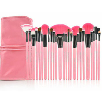 Sweet Pink Wool Material 24 Pcs Make Up Brush Set