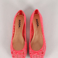 Soda Pauba-S Floral Embroidered Almond Toe Ballet Flat