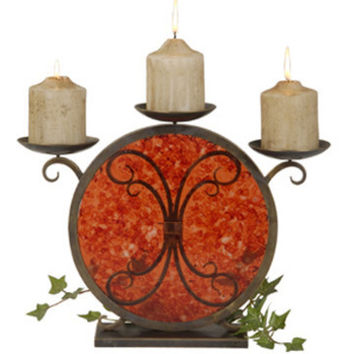 Jene's Candle Holder In Red Faux Rock Crystal