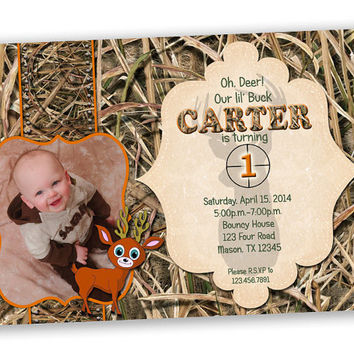 Camouflage invitation - Camo 1st Birthday Invitation - Deer Birthday Invite - Photo Birthday - Boy Birthday Photo Invites - Oh Deer Orange