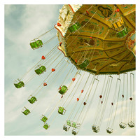 carnival photograph, green, swing photograph, fair, seat, ride, chair, color photography, nursery wall art, swing, carnival