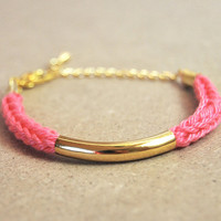 Pink bracelet with gold bar, knit i-cord bracelet, stacking bracelet