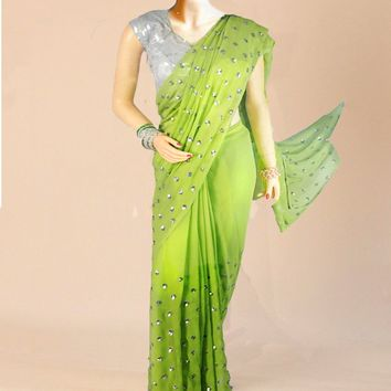The pure goergette saree in lime with crystal sequins