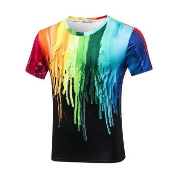 VONWZ7 Plus Size 3XL Stretch Sport Tee Funny 3D T-shirts Men Splashed Paint Ink T shirts Long Sleeve Round Neck Printed Quick Dry Tops