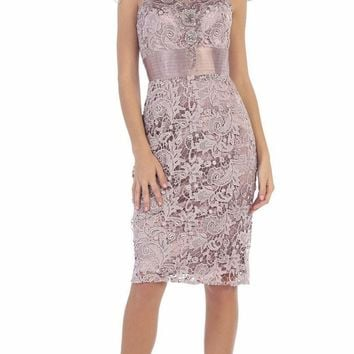May Queen - Embroidered Illusion Jewel Sheath Cocktail Dress