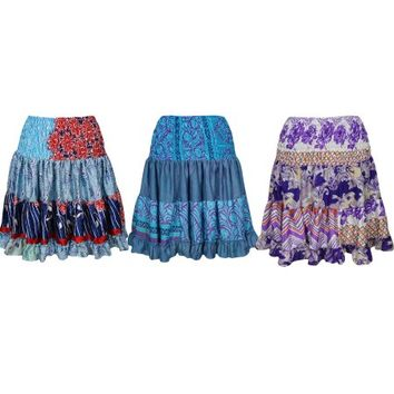 Mogul Womens Swirling Gypsy Skirt Vintage Recycled Full Flare Boho Chic Hippie Printed Knee Length Skirts Wholesale Lots Of 3 - Walmart.com