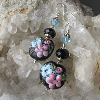 """Secret Garden"" Lampwork Art Glass & Swarovski Crystal Sterling Silver Artisan Earrings, ""Midnight Blooms"" #117"