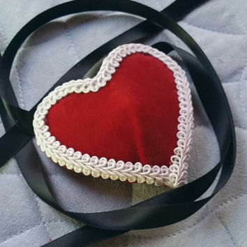 Red Velvet Heart Shaped Eye Patch White Trim with Black Ribbon Ties READY TO SHIP