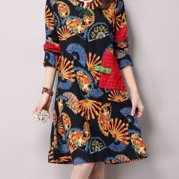 Streetstyle  Casual Fan Print Cotton/Linen Shift Dress