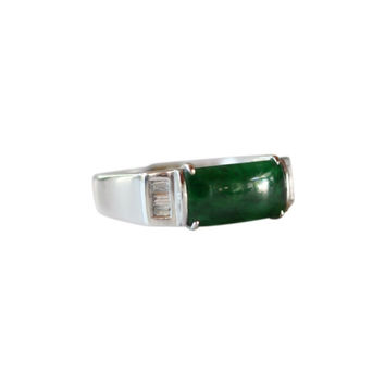Fine Size 6.5 Rectangular Imperial Jade Ring with 0.12ct Diamonds 18K Gold Band