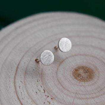 Sterling Silver Circle Stud Earrings