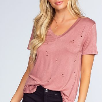 Alli Distressed Tee - Misty Pink
