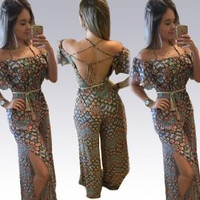 Off-Shoulder Strappy  Cutout Printed Jumpsuit