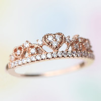 Princess heart-shaped tiara Rose gold ring with crystal/ Gorgeous and Delicate / 925 Sterling silver