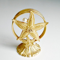 Florenza Starfish Letter Holder With Faux Pearls Gold Tone Vintage Desk Vanity Accessory